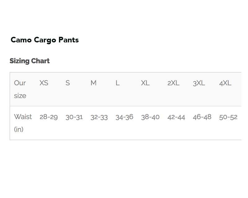 Camo Cargo Pants - Size Chart