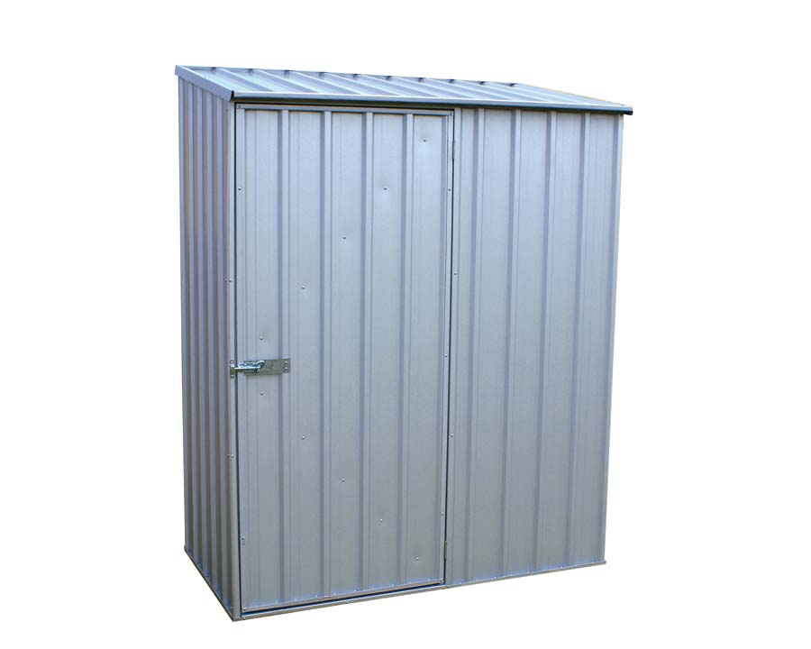 ABSCO Single Door Shed 152cm wide x 78cm deep and 195cm tall  in Zinc