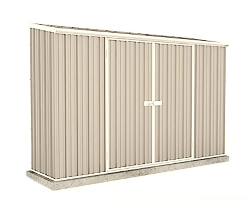 Economy Space Saver Shed 300cm wide  x 78cm deep  x 195cm tall in Merino (Cream) - ABSCO