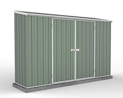 Economy Space Saver Shed 300cm wide  x 78cm deep  x 195cm tall in Green - ABSCO