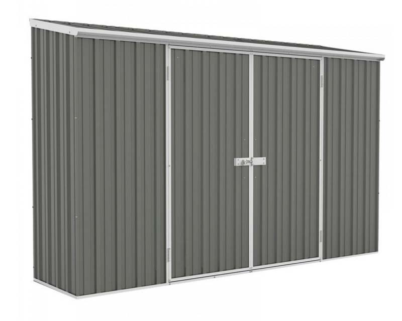 Economy Space Saver Shed 300cm wide  x 78cm deep  x 195cm tall in Grey - ABSCO