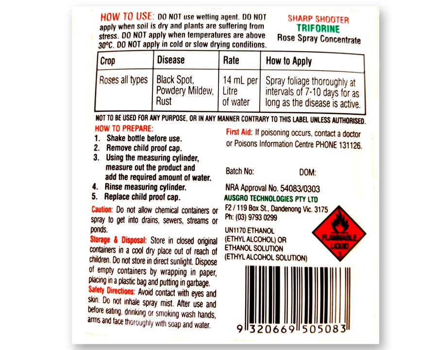Triforine rear pack label