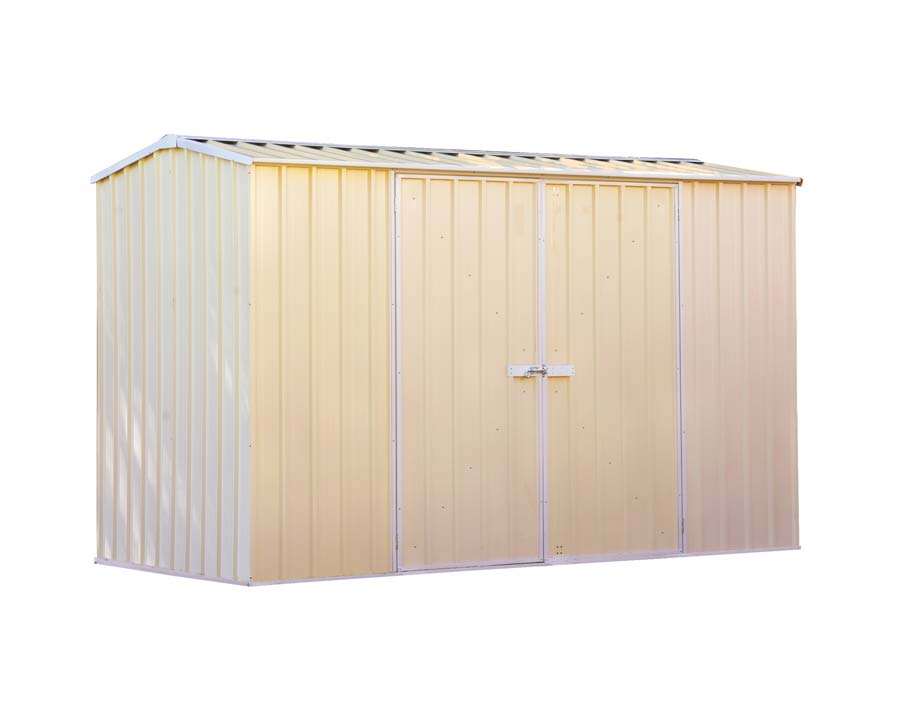 Premier Garden Shed with Double Doors Kit 3m x 1.52m x 1.95m in Classic Cream