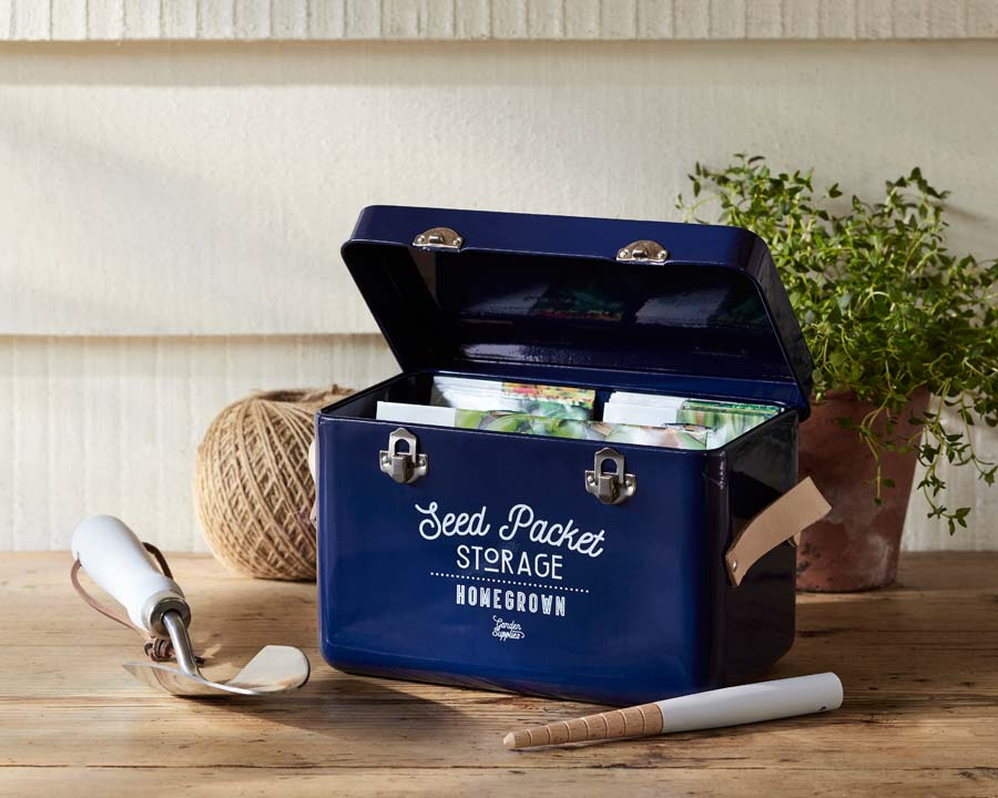 Seed Packet Storage Tin replacing the Seed Pack Organiser in Atlantic Blue. Burgon and Ball