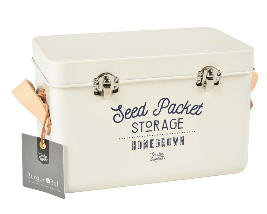 Seed Packet Storage Tin replacing the Seed Pack Organiser in Stone. Burgon and Ball