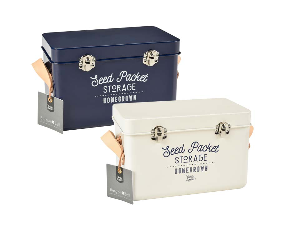 Seed Packet Storage Tins in Stone and Atlantic Blue - Burgon and Ball