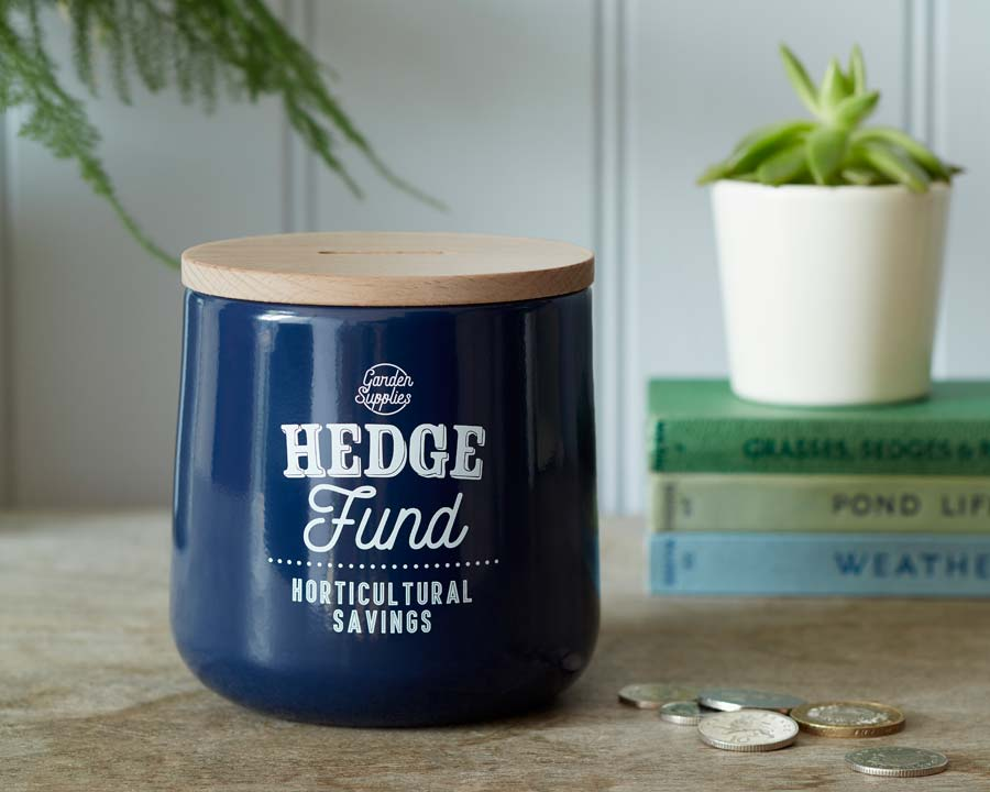 Hedge Fund Money Box in Atlantic Blue  Burgon and Ball