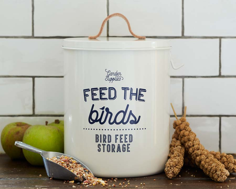 Bird Food Tin in Stone by Burgon and Ball