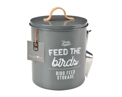 Bird Food Tin in Charcoal part of the new range of Garden Accessories by Burgon and Ball