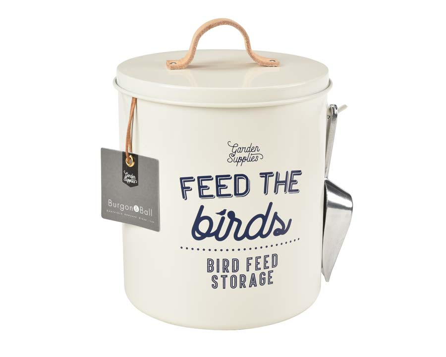 Bird Food Tin in Stone part of the new range of Garden Accessories by Burgon and Ball