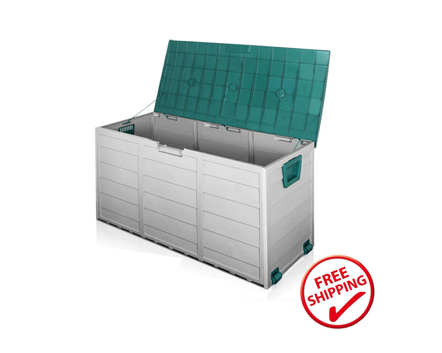 Outdoor storage box 290 litre - green accent