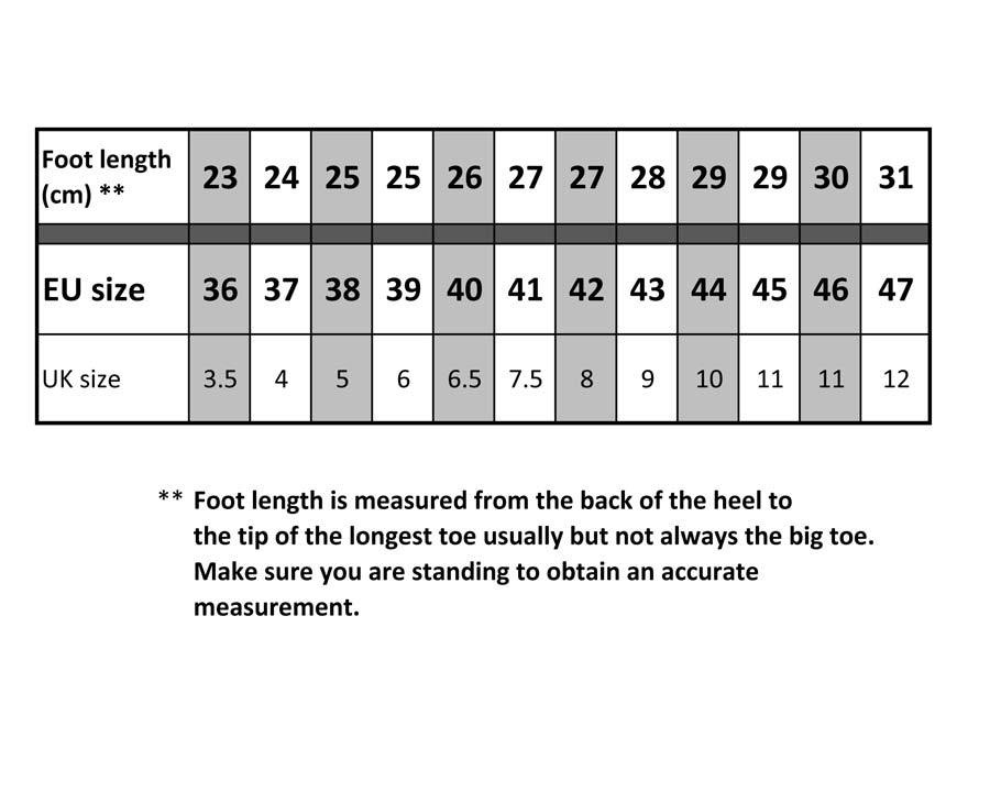 Boot size calculator for Blackfox boots.