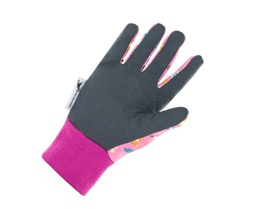 Children's Foxy Gloves in Pink by Blackfox with practical dark grey palm-side