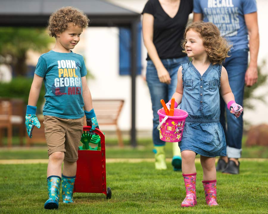 Children will love the brightly coloured Foxy Gumboots and Gloves