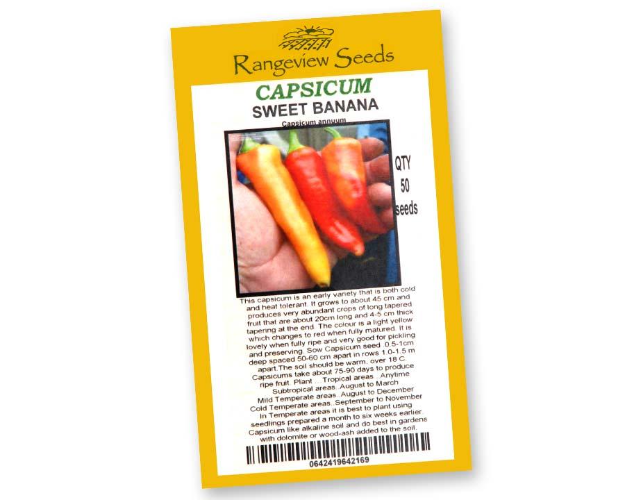 Capsicum Sweet Banana - Rangeview Seeds of Tasmania