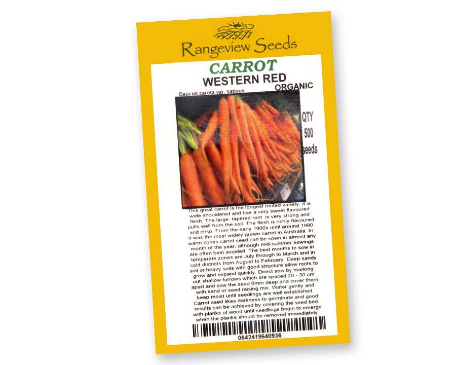 Carrot Western Red - Rangeview Seeds of Tasmania