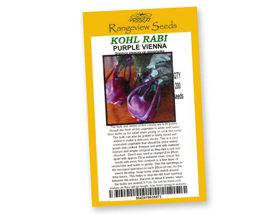 Kohl Rabi Purple Vienna by Rangeview Seeds of Tasmania