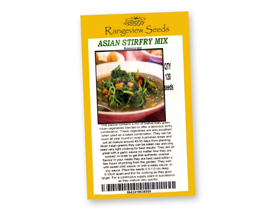 Asain Stirfry Mix of Brassicas - Rangeview Seeds of Tasmania