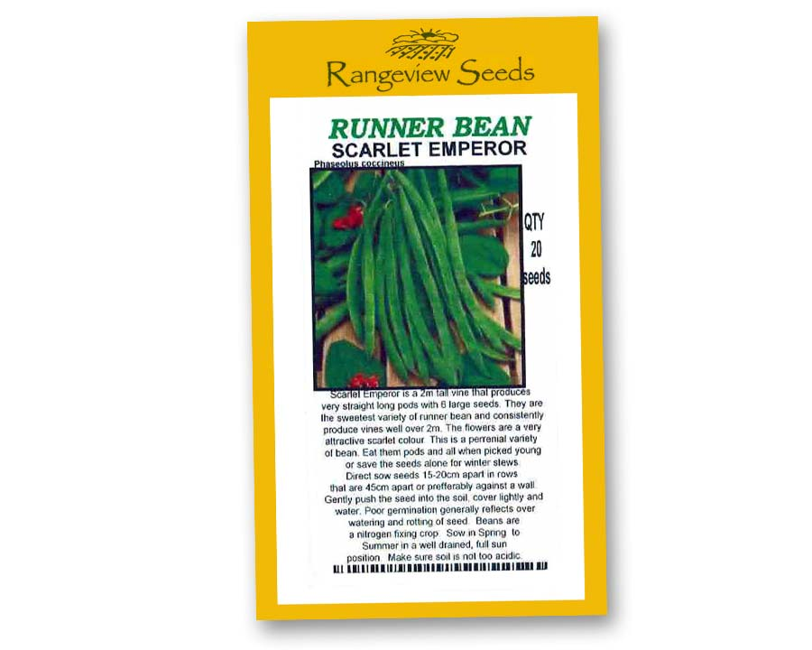 Runner Bean Scarlet Emperor - Rangeview Seeds