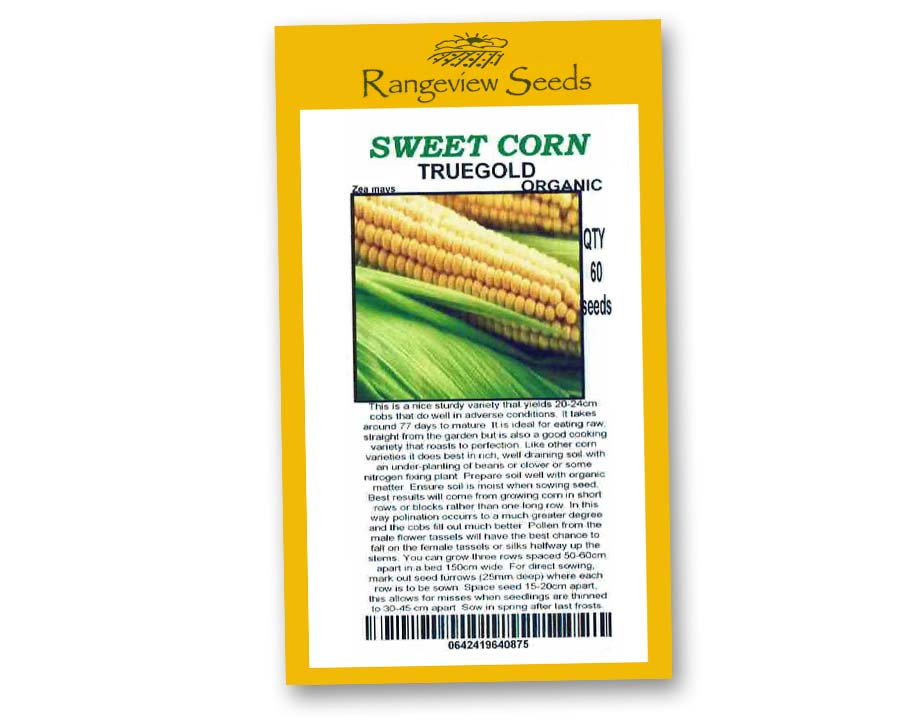 Sweetcorn Truegold Organic - Rangeview Seeds