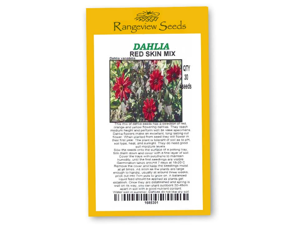Dahlia redskin Mix - Rangeview Seeds