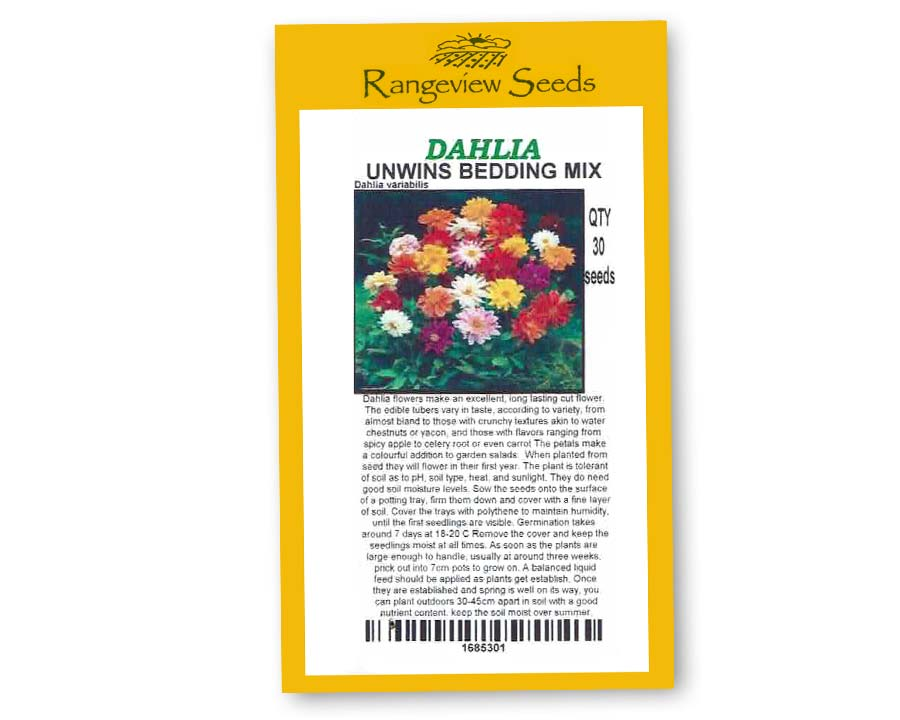Dahlia Unwins Bedding mix - Rangeview Seeds