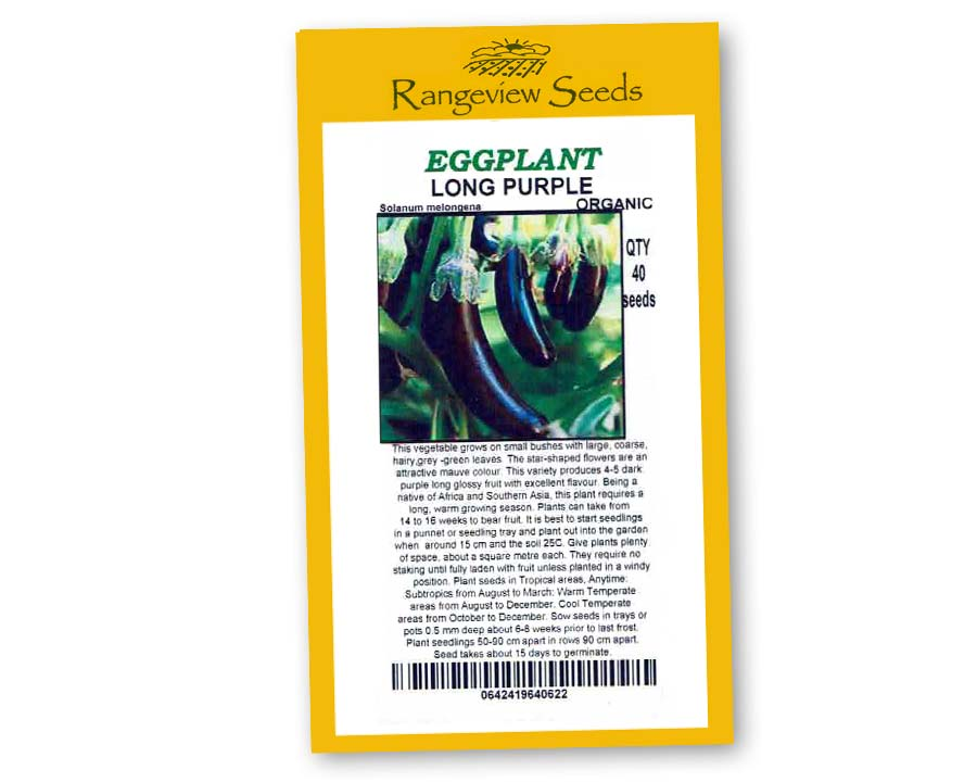 Eggplant Long Purple Organic - Rangeview Seeds