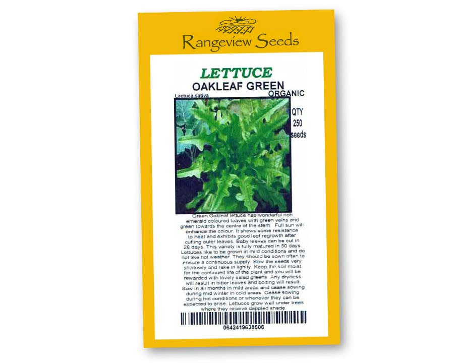Lettuce Oakleaf Green Organic - Rangeview Seeds