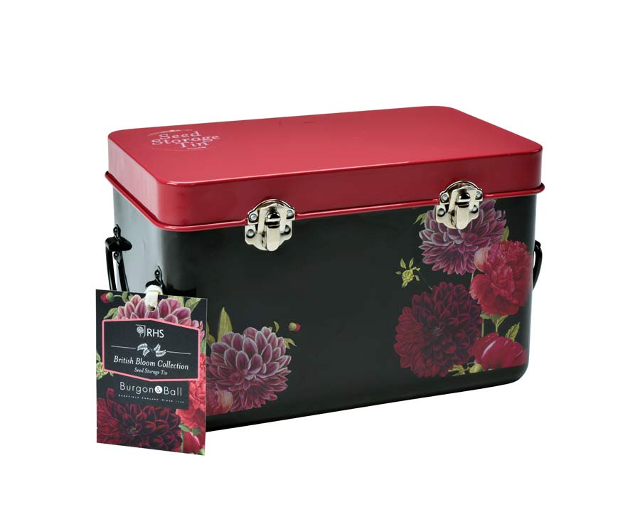 Seed storage tin in new British Bloom design from Burgon and Ball