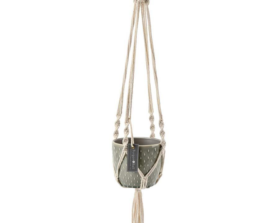 Macrame hanger with attactive glazed pot - New from Burgon and Ball