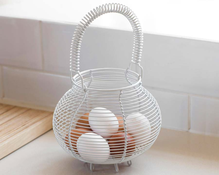 Wire egg basket - seen here in chalk colour