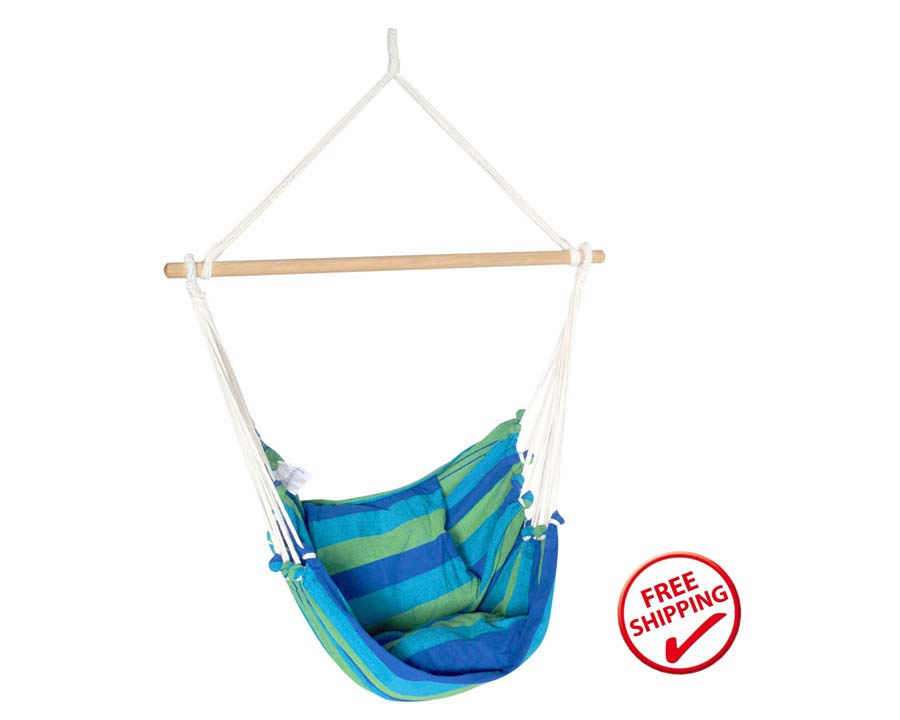 Hanging Hammock Chair in blue and green stripes