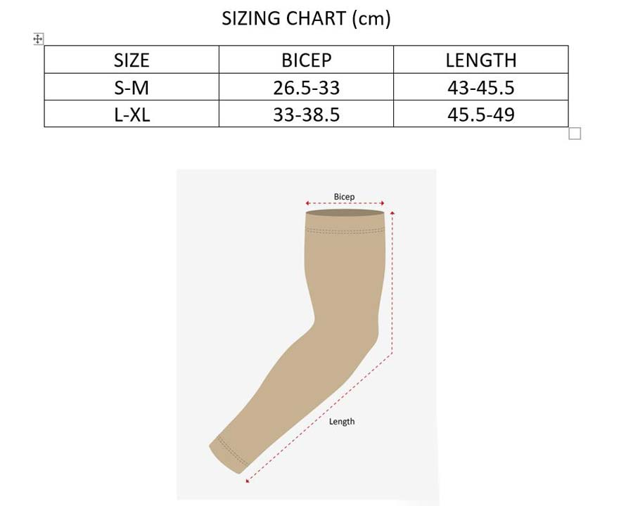 Size Chart for Sun Protection Sleeves