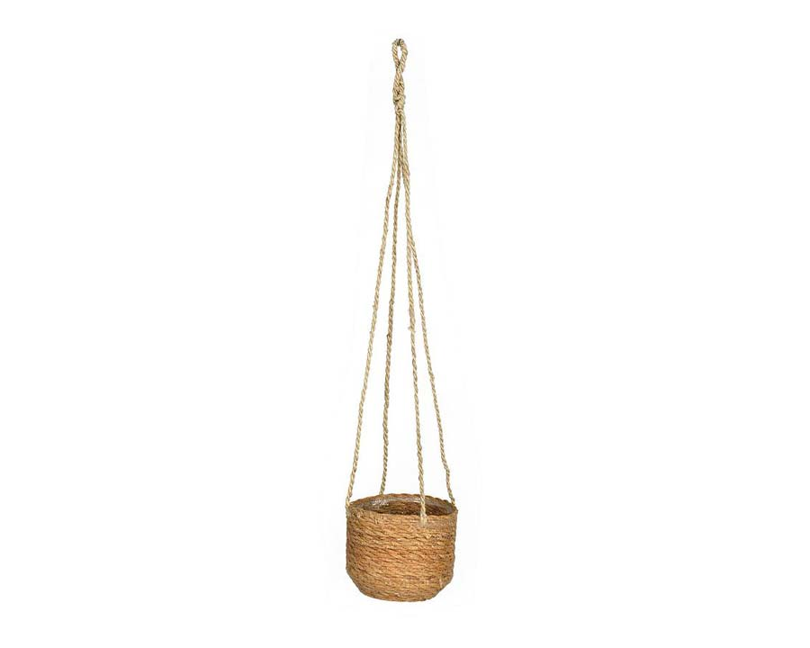 Hanging pot - Hanging cords made from jute and the planter is made of seagrass