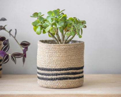 Striped Jute Pot with waterproof lining