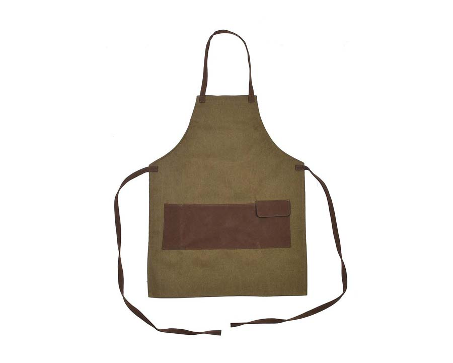 Waterproof canvas Garden Apron with faux leather straps and pockets