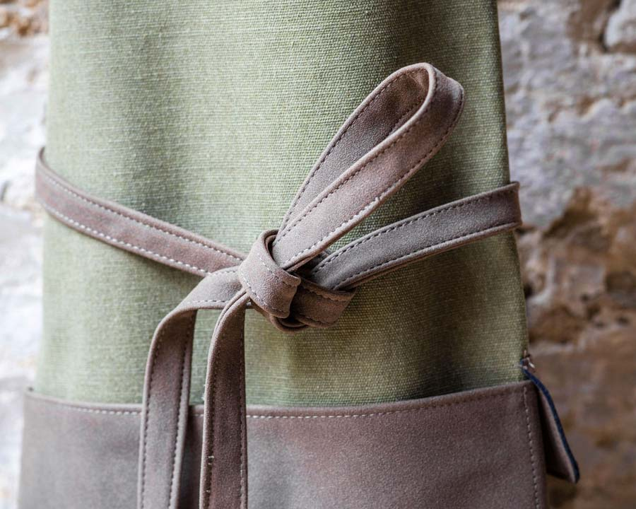 Canvas Garden Apron with faux leather straps and pockets