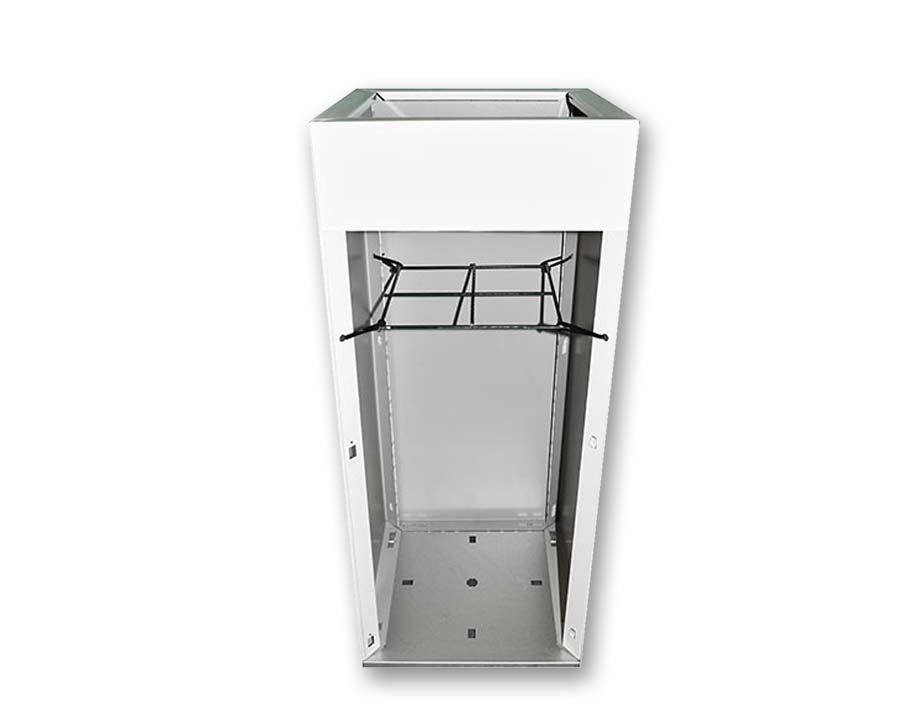 Hidden inner suspended shelf for instant displays with minimal soil fill.