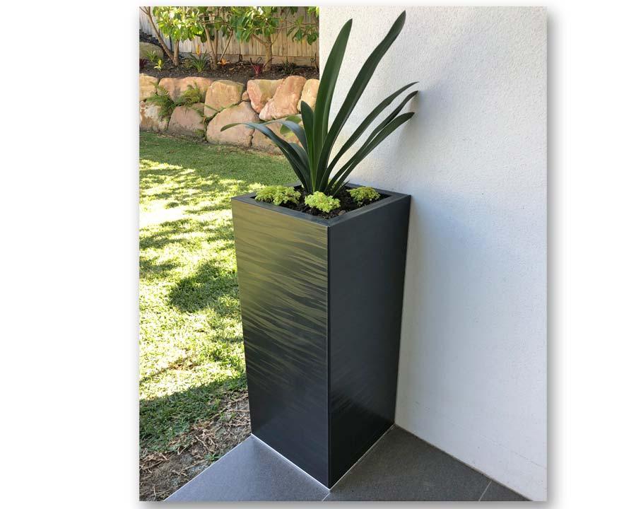 Birdies CBD Tall Square Pot in Spectrum finish.  30 x 30 x 70 cms