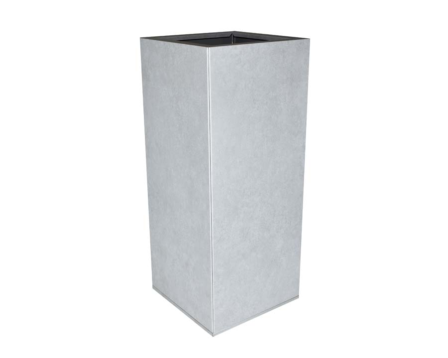 Birdies CBD Tall Square Pot in MetalStone finish.  30 x 30 x 70 cms