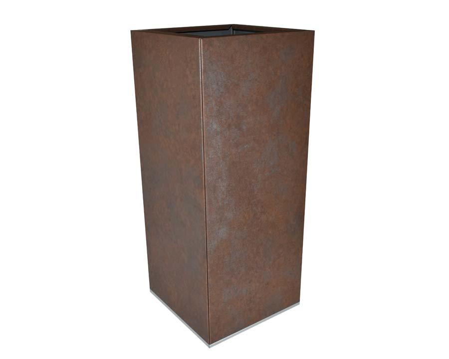 Birdies CBD Tall Square Pot in Weathered Iron finish.  30 x 30 x 70 cms