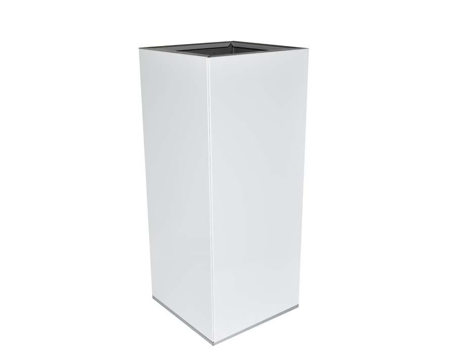 Birdies CBD Tall Square Pot in White finish.  30 x 30 x 70 cms