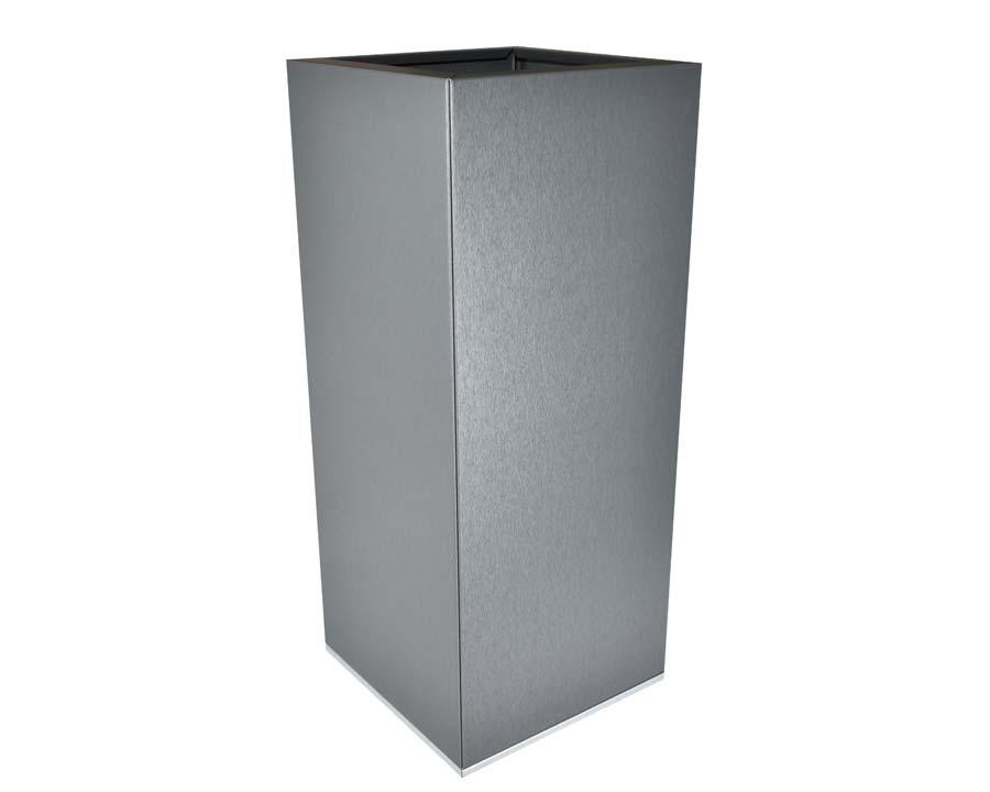 Birdies CBD Tall Square Pot in Zinc Graphite finish.  30 x 30 x 70 cms