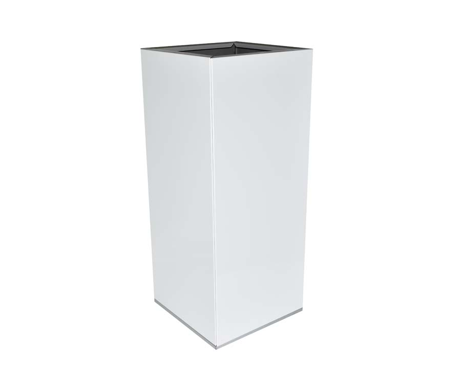 Birdies Tall Square Pot in White finish.  30 x 30 x 70 cms