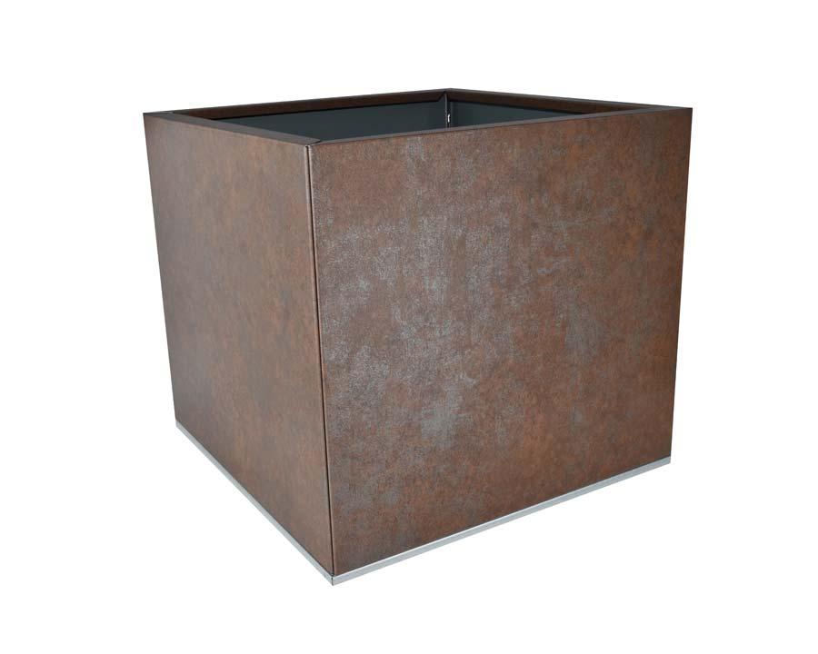 Birdies CBD Flat-Pack Pot - Square 0.45 x 0.45 x 0.4m - in Weathered Iron finish
