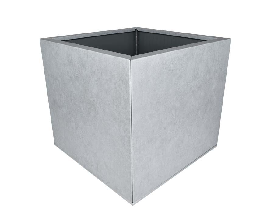 Birdies Flat-Pack Pot - Square 0.45 x 0.45 x 0.4m - in Metal Stone finish