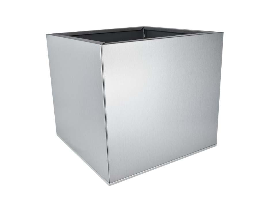 Birdies Flat-Pack Pot - Square 0.45 x 0.45 x 0.4m - in Silver Quartz finish