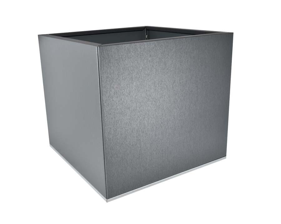 Birdies Flat-Pack Pot - Square 0.45 x 0.45 x 0.4m - in Zinc Graphite finish