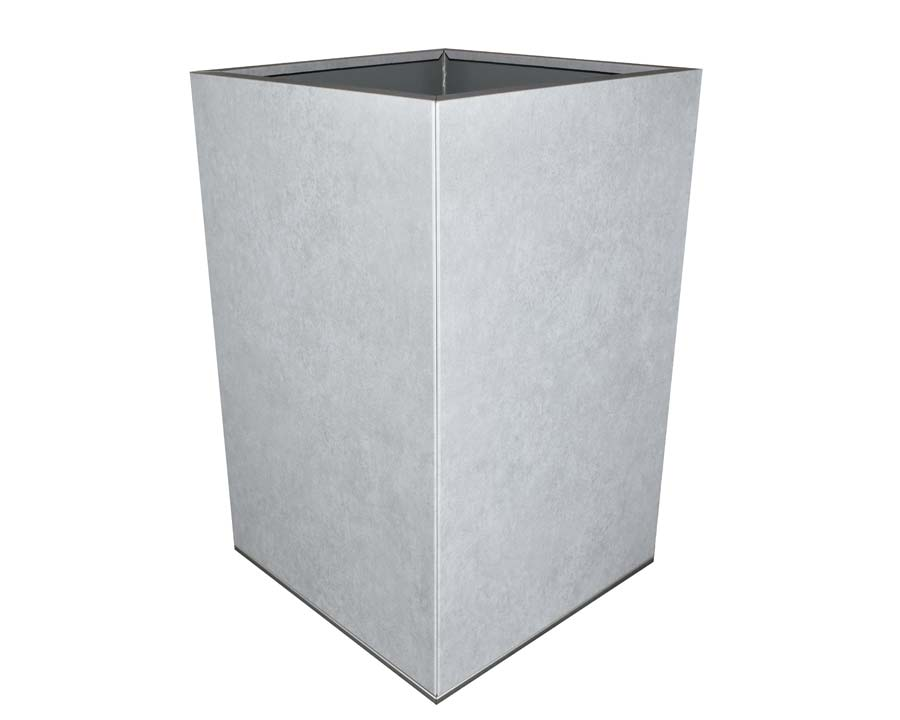 Flat-Pack Pot, Square, Tall  - Metal Stone 45 x 45 x 70cms