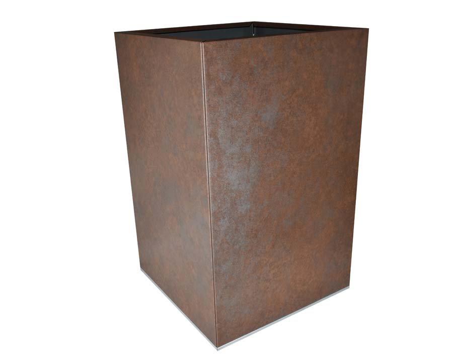 Flat-Pack Pot, Square, Tall  - Weathered Iron 45 x 45 x 70cms
